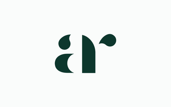 ar or ra and a, r Lowercase Letter Initial Logo Design, Vector Template
