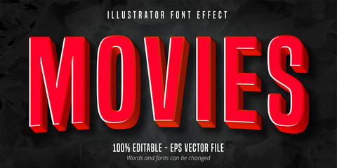 Movies text, 3d red movie style editable font effect