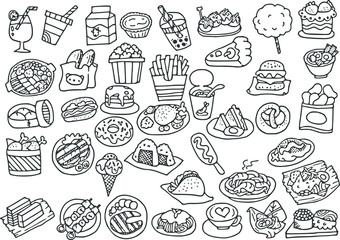 vector drawing food cartoon pictures set