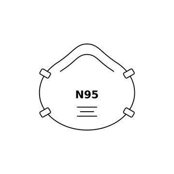 N 95 respirator face mask line icon. Corona virus or dust protection. Black outline on white background. Respiratory protective device, filtration of airborne particles. Vector illustration, clip art