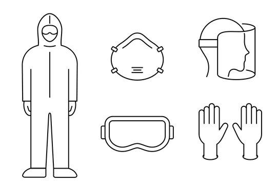 Coronavirus prevention equipment line icon set. Protective suit, mask, gloves, goggles, face shield. Black outline on white background. PPE personal protection. Precaution measures. Vector, clip art.