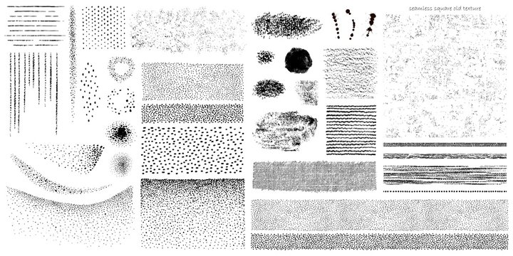 Big hand drawn set of grunge subtle texture, paint spots, stripe lines, dots, seamless, attritions, ink. Vector collection old texture, crafted elements for your design.