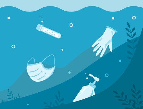 Underwater debris, trash after pandemic coronavirus Covid-19. Latex gloves, plastic bottle sanitizer, medical surgical mask and test flask. Environmental ecology rubbish concept. Vector illustration