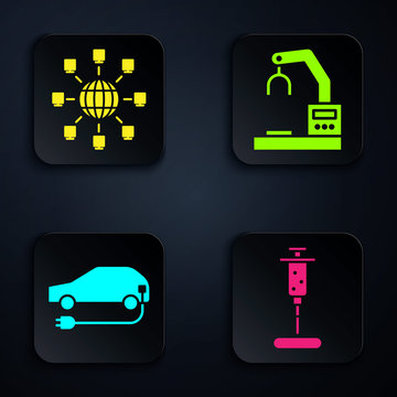 Set Syringe, Social network, Electric car and Robotic robot arm hand factory. Black square button. Vector