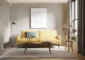 3d render of agrungy concrete room with a yellow sofa an art canvas and many plants and flowers Wall mural