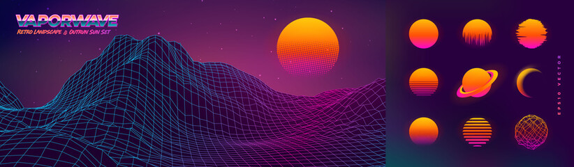 Fototapeta Futuristic neon retrowave background. Retro low poly grid wireframe landscape mountain terrain with set of glowing outrun sun vector illustration template obraz
