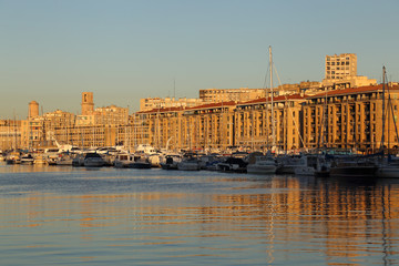 Sunrise on the old harbor of Marseille, France