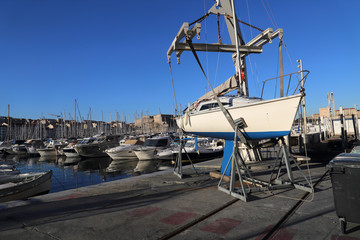 Ship wharf in old harbor of Marseille, France