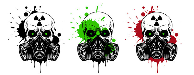 Vector skulls set with gas mask, radiation sign, glowing eyes and paint splashes and drips on white background. Grunge vector illustration