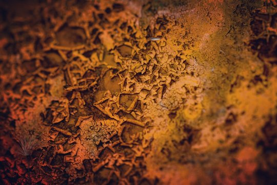 Close-up Of Paint Peeling Off From Rusty Wall
