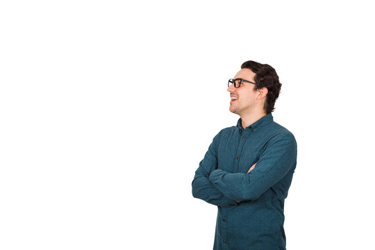 Side view contented businessman, keeps arms crossed, looking ahead as talking to someone isolated on white background with copy space. Joyful business worker, wearing glasses, open mouth speaking.