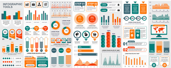 Bundle infographic UI, UX, KIT elements with charts, diagrams, workflow, flowchart, timeline, online statistics, marketing icons elements design template. Vector info graphics and infographics set. Fotomurales