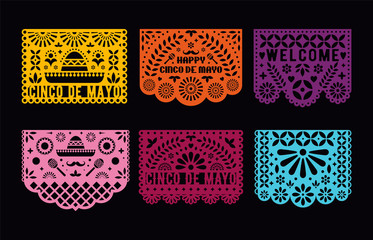 Vector Papel Picado cards set. Mexican paper decorations for party. Cut out compositions for paper garland. May 5, mexican holiday Cinco de mayo. Wall mural