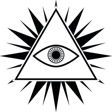 An all seeing eye of God on a star