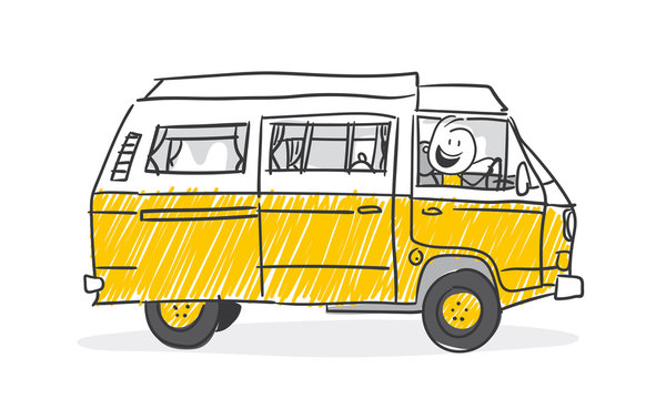 Strichfiguren / Strichmännchen: Wohnwagen, Bulli. (Nr. 478)