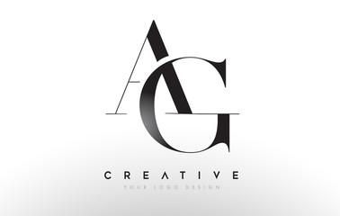 Fototapeta AG GA letter design logo logotype icon concept with serif font and classic elegant style look vector obraz