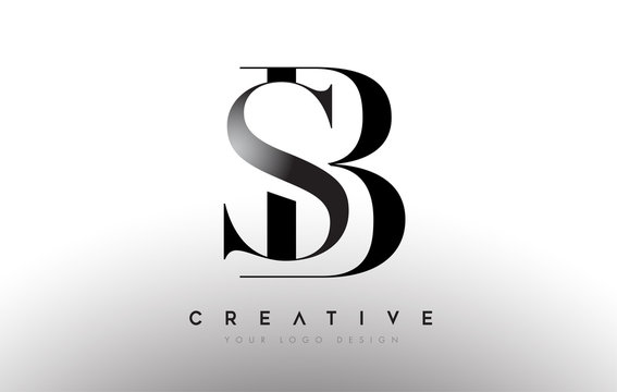 SB BS letter design logo logotype icon concept with serif font and classic elegant style look vector