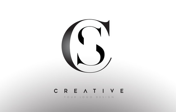 CS SC letter design logo logotype icon concept with serif font and classic elegant style look vector