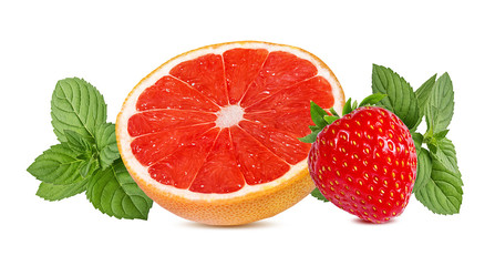 Wall Mural - grapefruit,mint and strawberry. isolated on white background