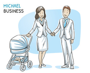 Happy young couple family in business clothes with baby in a stroller. Hand drawn cartoon sketch vector illustration, whiteboard marker style coloring.