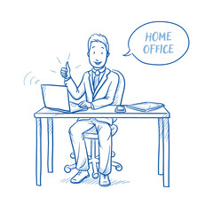 Happy business man, employee at his home office desk with laptop, tablet looking confident and talking with speech bubble.  Hand drawn line art cartoon vector illustration