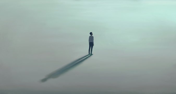 Lonely young man with the light. painting illustration