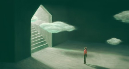 Surreal painting of freedom and hope concept