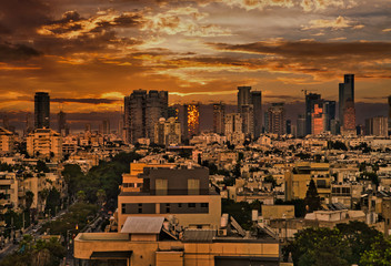Wall Mural - Beautiful Cityscape with Sun Reflections on Buildings of Tel Aviv, Israel under an amazing Sky.
