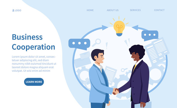 Business cooperation and teamwork concept with a Caucasian and Black businessmen shaking hands on an agreement or partnership with speech bubbles, colored vector illustration with copy space
