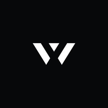 Minimal elegant monogram art logo. Outstanding professional trendy awesome artistic W WV WX XW initial based Alphabet icon logo. Premium Business logo White color on black background