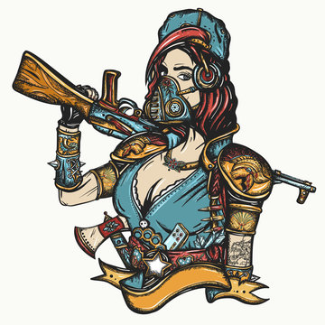 Post apocalypse. Soldier woman in gas mask. Doomsday girl and kalashnikov machine gun. Game art. Survival people. Dark crime future, tattoo and t-shirt design. Post apocalyptic warrior