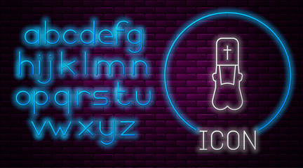 Glowing neon line Priest icon isolated on brick wall background. Neon light alphabet. Vector Illustration Fotomurales