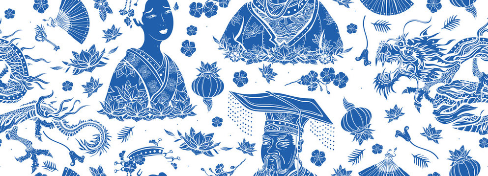 Chinese traditional blue ceramic background. Old school tattoo style. Dragon, emperor, queen in traditional costume, fan, lantern, lotus flower. Ancient oriental culture. China seamless pattern