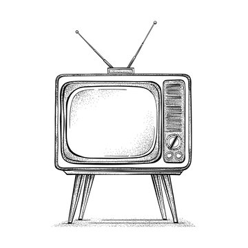 Old TV hand drawn vector