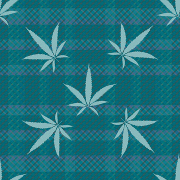 Cannabis leaves seamless vector pattern background. Monochrome teal hemp foliage on tartan plaid backdrop. Stylish botanical marijuana design. All over print for wellness, health, self care concept