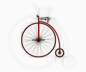 Photo sur Aluminium Penny Farthing Bicycle Sketch