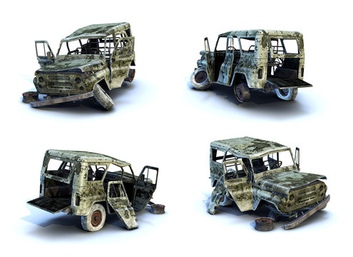 Set of 3d-renders of burnt SUV on white background