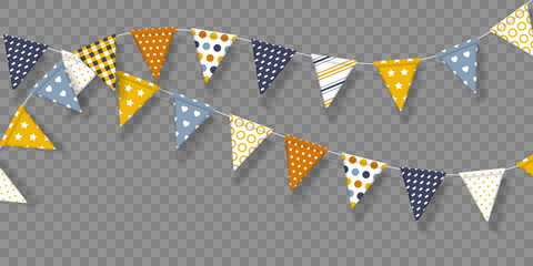 Vector bunting flags with geometric patterns. Decorative elements for birthday party, festivals, holidays. Isolated on transparent background.