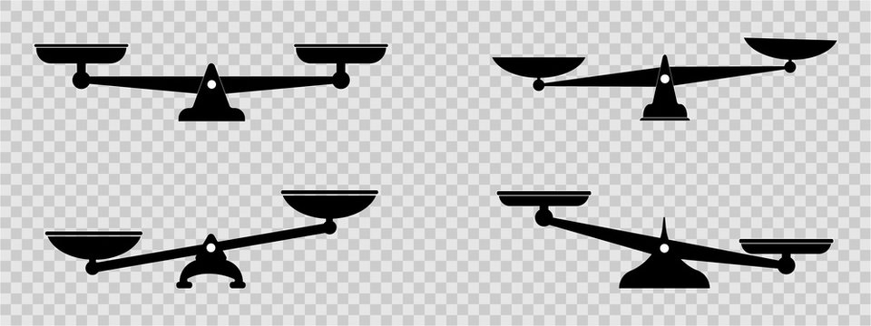 Scales icons set. Law scale icon. Vector scales icon