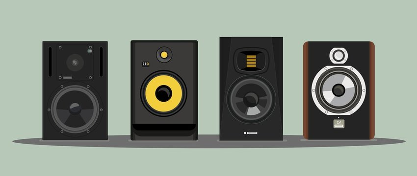 Realistic vector of the legendary studio monitors. Image for t-shirt. Acoustic systems. Detailed study. For a music studio. Sound pressure. Speakers. For professional riders. Musical equipment.