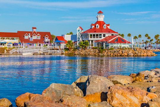 Rainbow Harbor with Shoreline  Village at Long Beach , CA