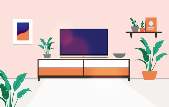 Tv stand in apartment - View of a turned off flat screen television on top of a bench in a regular home. Watching tv concept. Vector illustration.