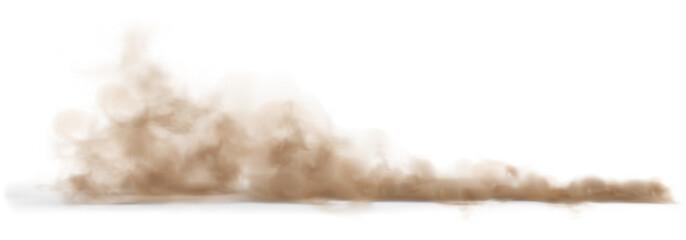 Obraz Dust sand cloud on a dusty road from a car. - fototapety do salonu