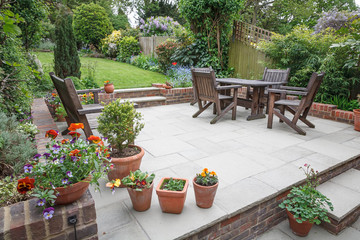 Wall Murals Deep brown Hard landscaping, new luxury patio and garden, UK