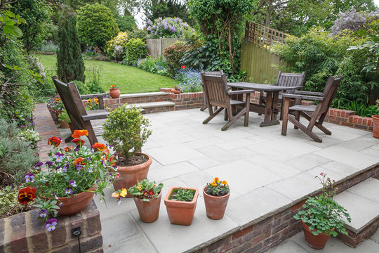 Hard landscaping, new luxury patio and garden, UK