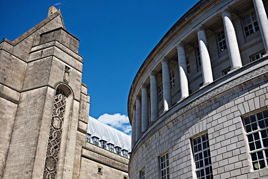 Low Angle View Of Manchester Central Library And Town Hall