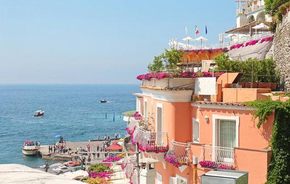 Colorful Villas Overlooking the town of Positano on Italy's Amalfi Coast.