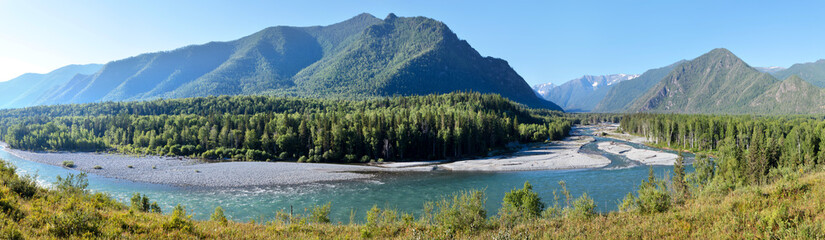 Wall Mural - Panoramic view of the Katun river valley, Altai. Travel and vacation in the mountains.