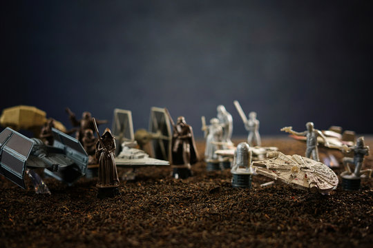 Star Wars battlefield scene with iconic characters and ships. With copy space. ADELAIDE, SOUTH AUSTRALIA - APRIL 28, 2017.