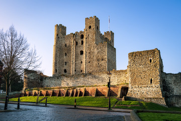 Rochester, United Kingdom - December 4, 2019: View to Rochester castle from South.